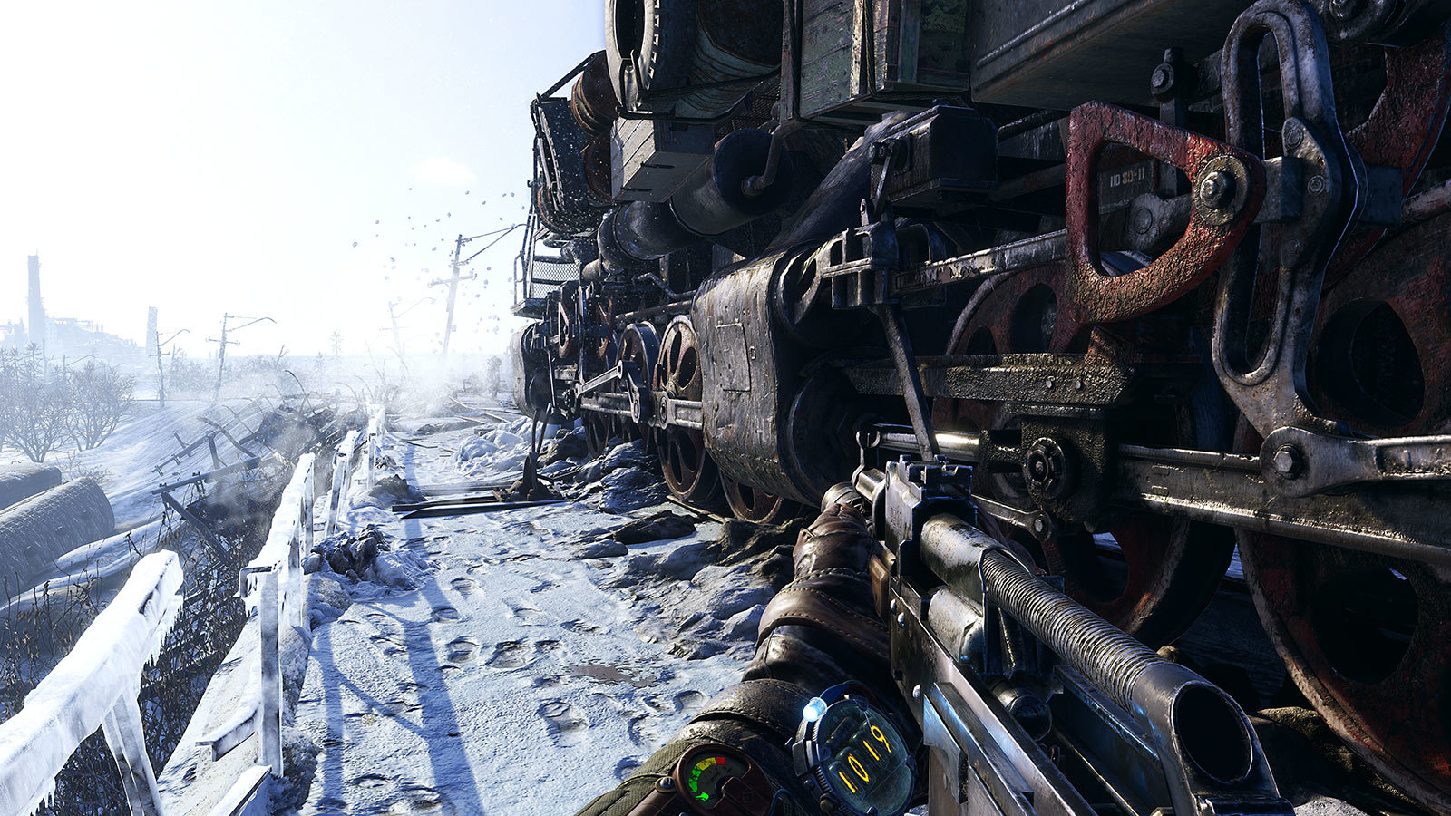 Metro Exodus train in winter
