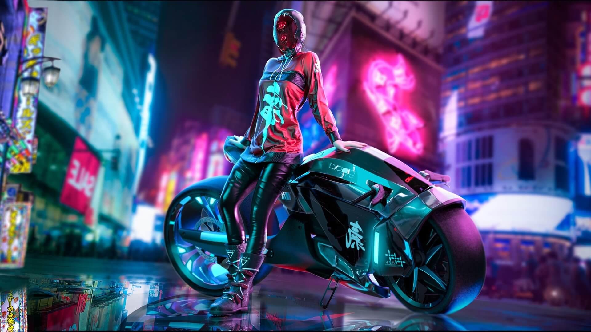 Cyberpunk 2077 city girl night