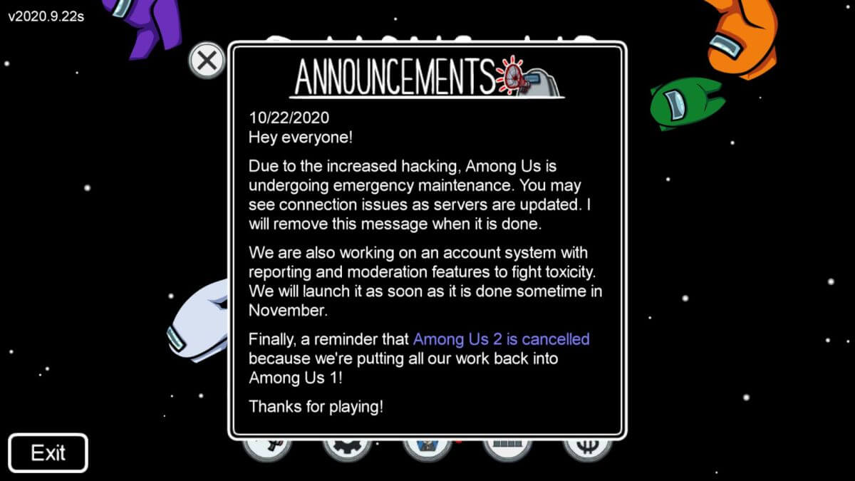 Among Us announcemements